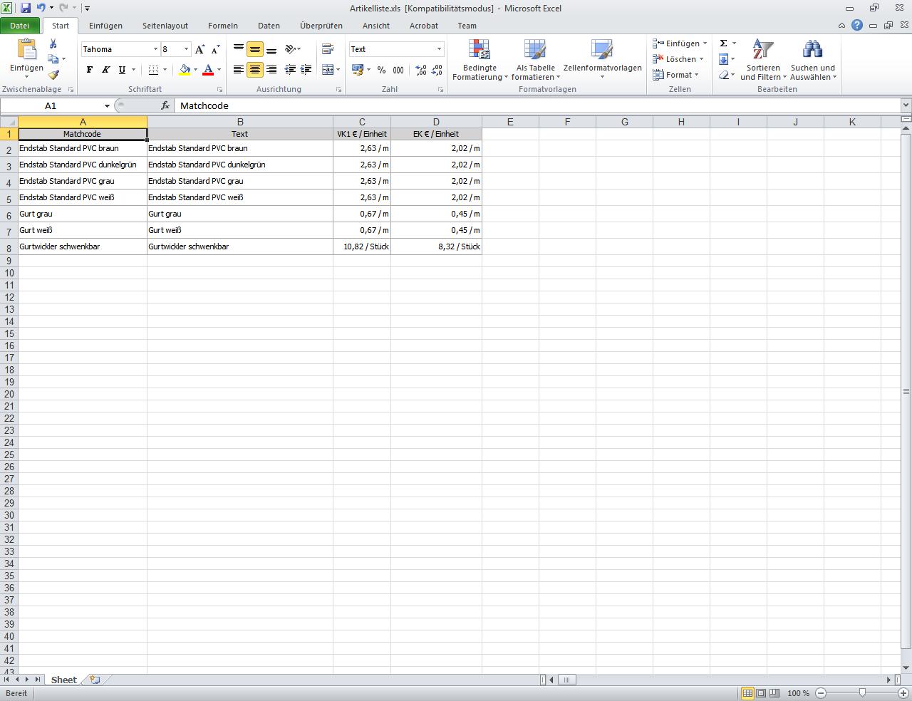 Artikel Listenansicht Excel Export