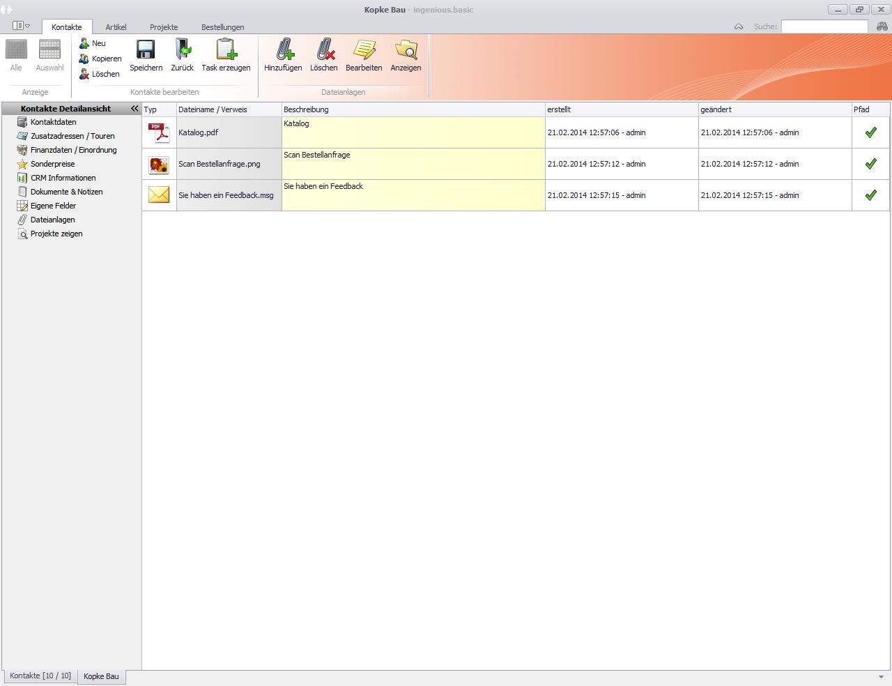 Kontakte Detailansicht Dateianlagen