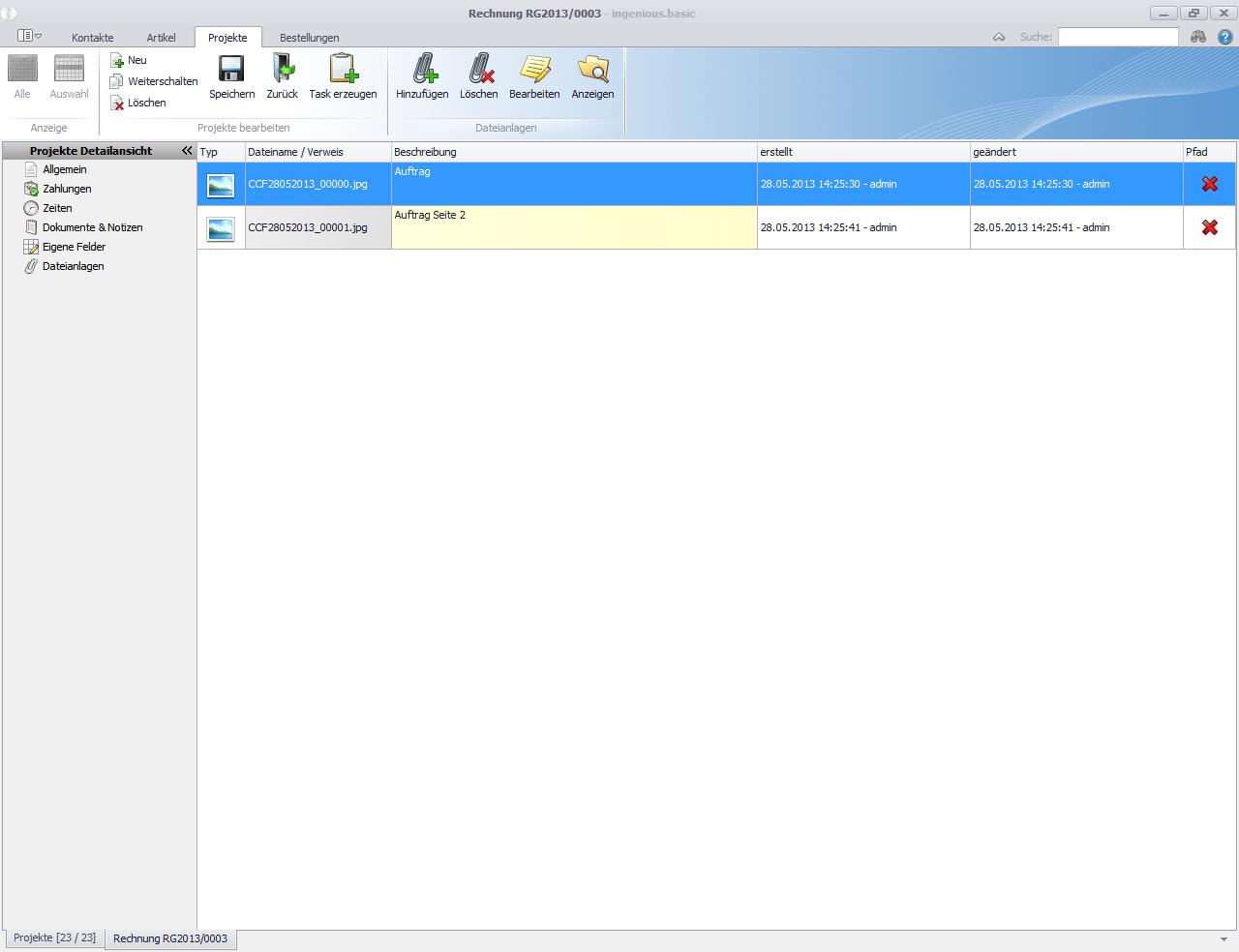 Projekte Detailansicht Dateianlagen