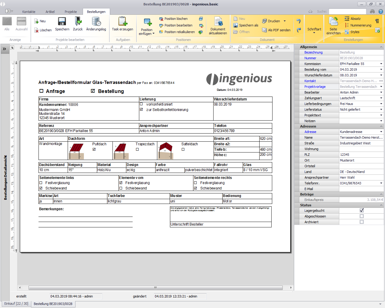 Integriertes automatisch ausgefülltes Bestellformular