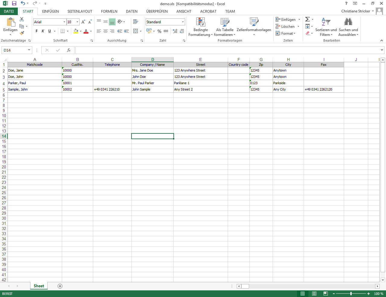 Contacts list view Excel export