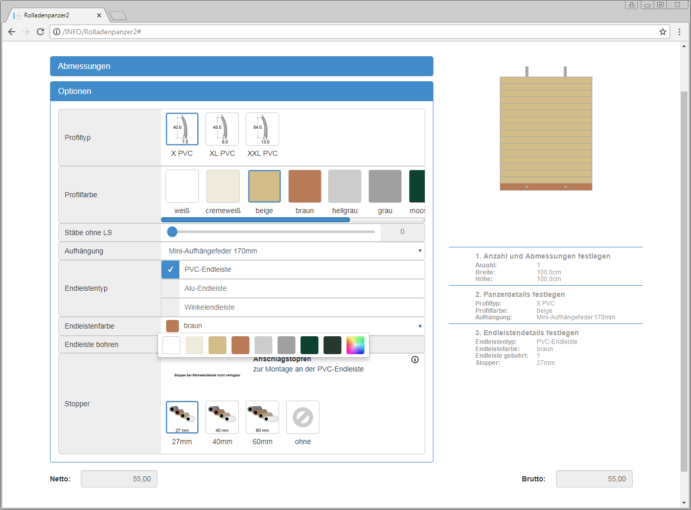 Ingenious Online Produktkonfigurator